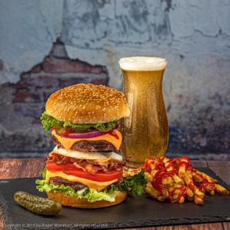 Burger and Beer with fries and pickle