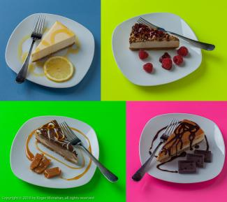 Four Cheesecake images showing different presentations