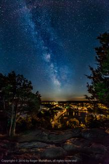 Westport at night from Spy Rock showing milky way